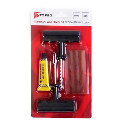 Комплект для ремонта бескамерных шин TORSO TR-01, инструмент, жгуты, клей