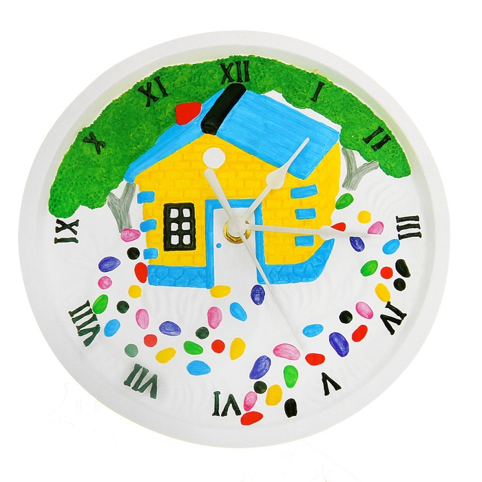 Роспись по гипсу, серия создай часы «Домик», краски 8 цветов по 2 мл - фото 105592098