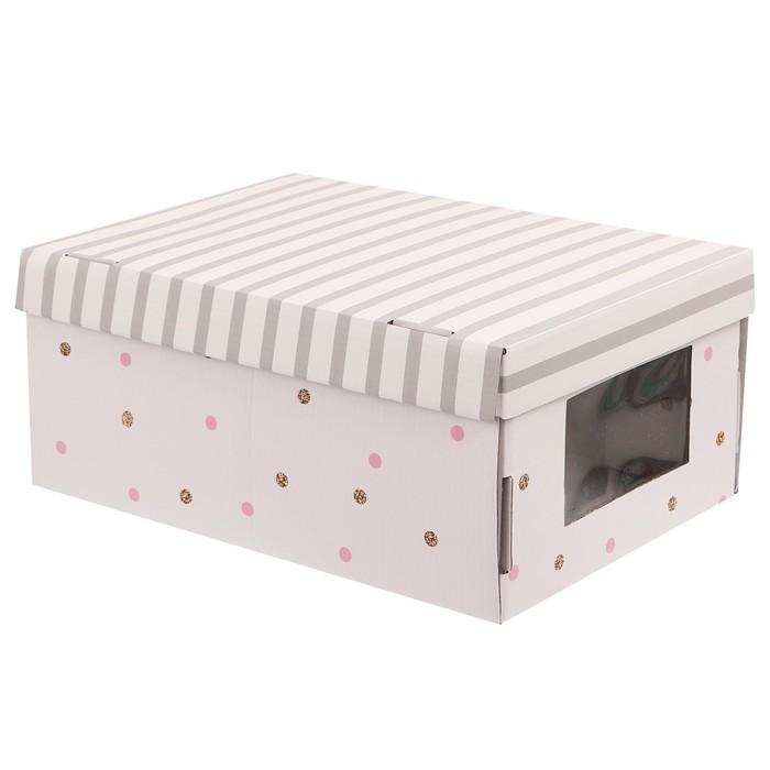 Складная коробка с PVC окошком «В горошек», 34 × 23 × 15 см - фото 242986311