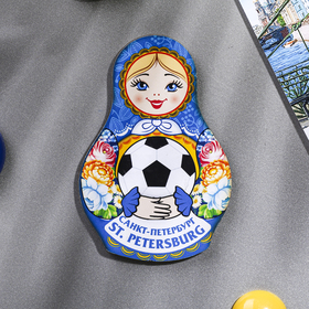 """Magnet in the shape of a doll """"in Saint Petersburg. Zhostovo"""""""