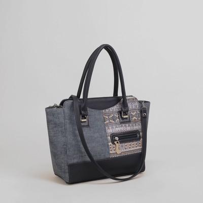 Сумка жен 919, 30*11*27, 1 отд на молнии, н/карман, длинн ремнень, джинса синяя