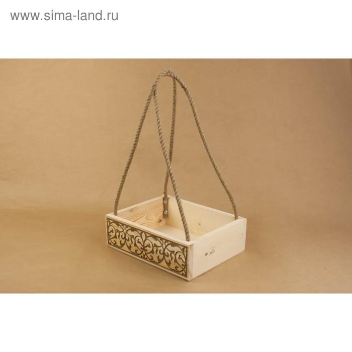 Ящик из массива с гравировкой №2, с джутовой ручкой, большой, 30х24х9см, неокрашенный