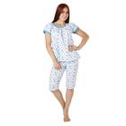 Пижама женская (футболка, бриджи) Светлана цвет белый, принт МИКС, р-р 52