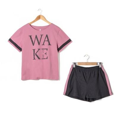 Пижама женская (футболка, шорты) Wake цвет розовый, р-р 48