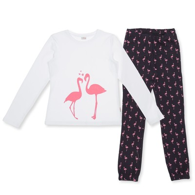 Пижама для девочки, рост 134 см, цвет белый/серый