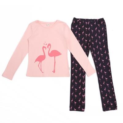 Пижама для девочки, рост 134 см, цвет розовый/серый