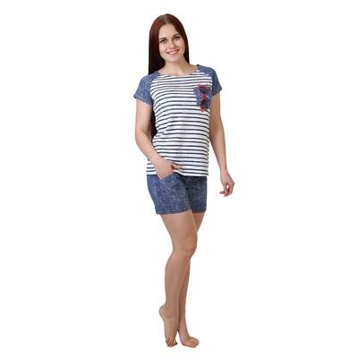 Комплект женский (футболка, шорты) Очки цвет тёмно-синий, р-р 46