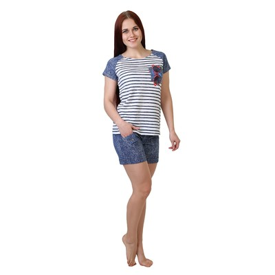 Комплект женский (футболка, шорты) Очки цвет тёмно-синий, р-р 54