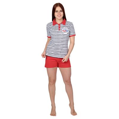 Комплект женский (футболка, шорты) Морской бриз цвет синяя полоса, р-р 48