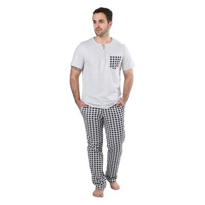 "Пижама мужская (футболка, брюки) ""Я для тебя"" цвет серый/тёмно-синяя клетка, р-р 50"