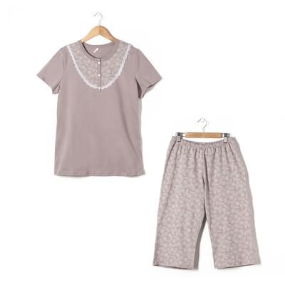 Пижама женская (футболка, бриджи) Комфорт цвет какао, р-р 56