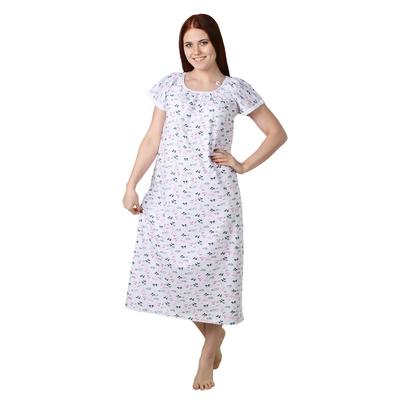 Сорочка женская Светлана цвет белый, принт МИКС, р-р 62