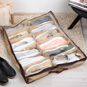 Кофр для обуви 12 отделений, 65×54×10 см, цвет бежевый