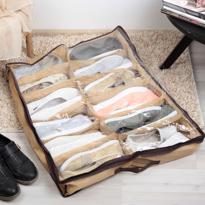 Кофр для обуви 12 отделений, цвет бежевый