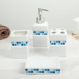 Набор аксессуаров для ванной комнаты «Плитка», 4 предмета (дозатор 350 мл, мыльница, 2 стакана), цвет синий