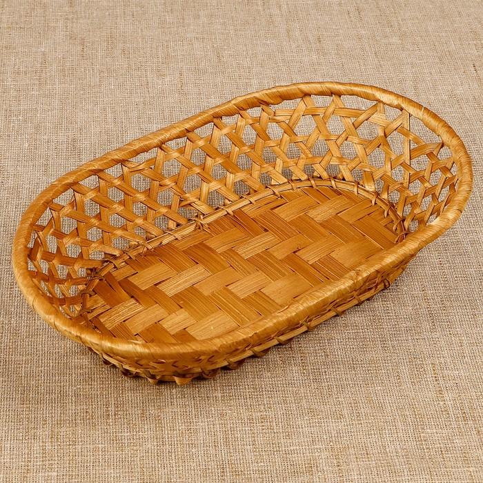 Фруктовница «Плетёнка», овальная, редкое плетение, 26×16×5 см, бамбук