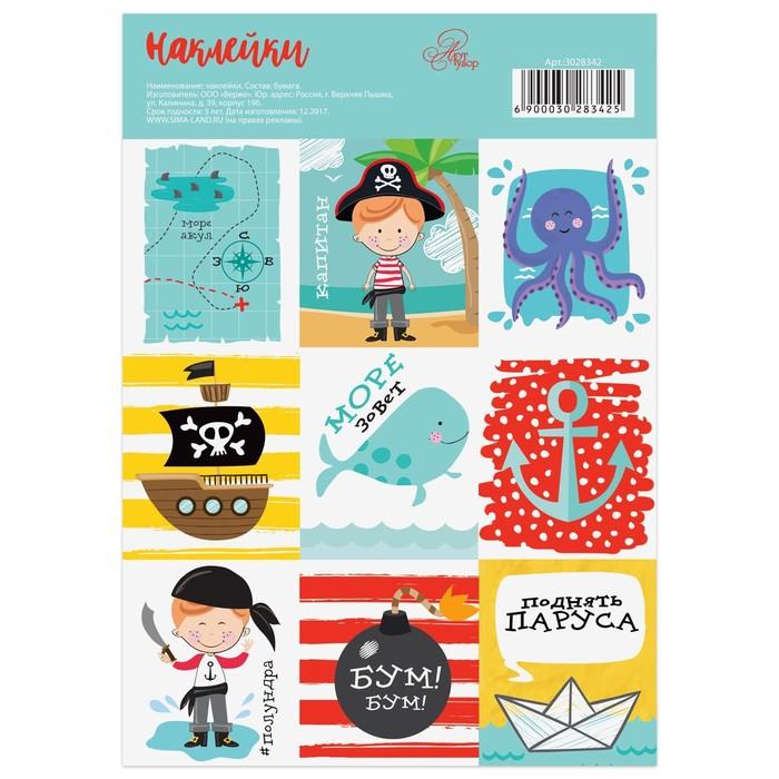 Наклейки бумажные «Отважный пират», 11 × 16 см
