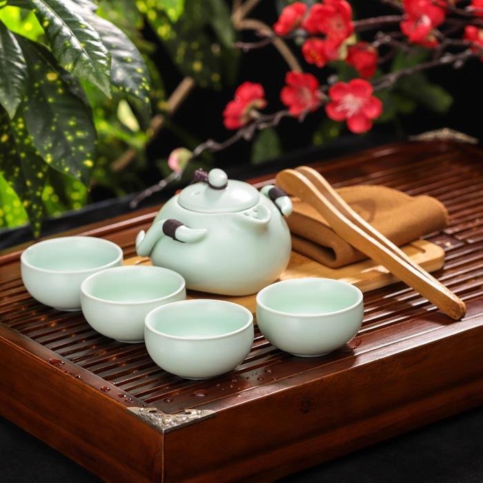 """Набор для чайной церемонии """"Тясицу"""", 8 предметов: чайник, 4 чашки, щипцы, салфеточка, подставка"""