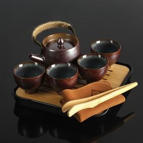 """Набор для чайной церемонии """"Тянива"""", 8 предметов: чайник, 4 чашки, щипцы, салфеточка, подставка"""