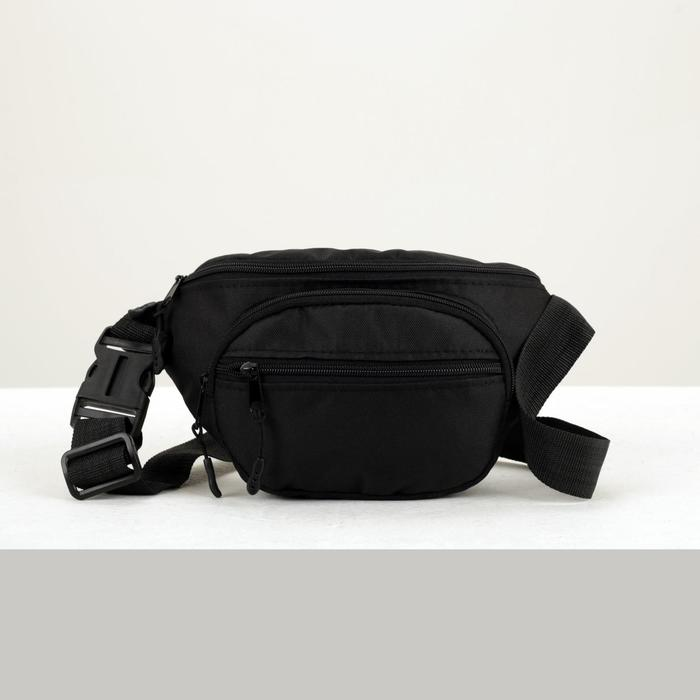 Сумка поясная на молнии, 1 отдел, 2 наружных кармана, регулируемый ремень, цвет чёрный - фото 65864