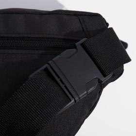 Сумка поясная на молнии, 1 отдел, 2 наружных кармана, регулируемый ремень, цвет чёрный - фото 65867