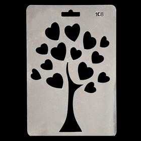 Трафарет пластик 'Дерево с сердечками' 20х14 см Ош