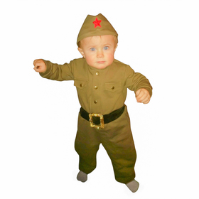 Костюм военного детский: комбинезон, пилотка, трикотаж, хлопок 100 %, рост 74 см, 1-2 года