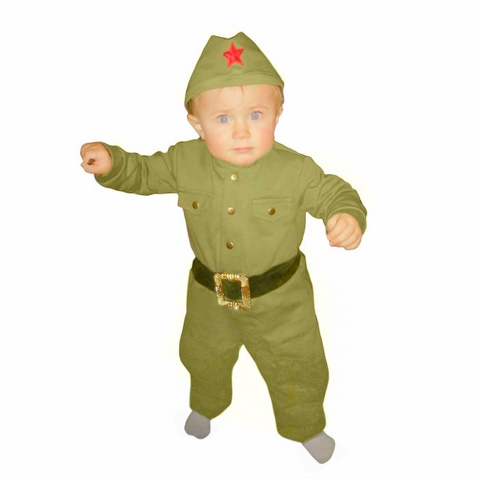Костюм военного детский: комбинезон, пилотка, трикотаж, хлопок 100 %, рост 80 см, 1-2 года
