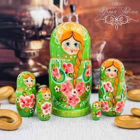 """Матрешка 5 кукольная """"Русская краса"""" (зеленая) 15 см"""