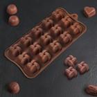 Форма для льда и шоколада «Плетёнка», 15 ячеек, цвет шоколад