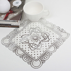 "Napkin fishnet PVC 20x20 cm ""rose"" color silver"