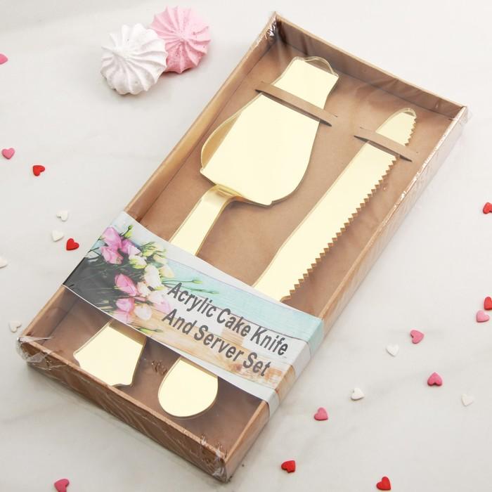 """Набор для торта """"Роскошь"""", 2 предмета: лопатка, нож"""