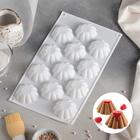 """Форма для муссовых десертов и выпечки 30×17 см """"Ромашка"""", 12 ячеек, цвет белый"""