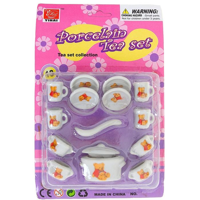 """Набор фарфоровой посуды для кукол """"Мишки"""" с кастрюлей, 14 предметов"""