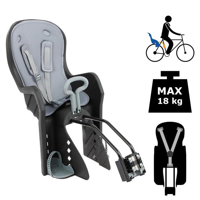 Велокресло заднее BQ-9 с ручкой, крепление на раму с кнопкой, цвет черный