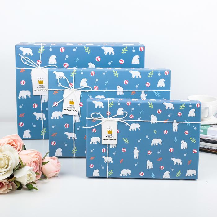 """Набор коробок 3 в 1 """"Белые медведи"""", 33 х 25 х 11,5 - 24 х 17 х 6,5 см - фото 727356627"""