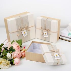 3in1 set of boxes, beige, 21 x 21 x 10 - 14 x 14 x 7 cm