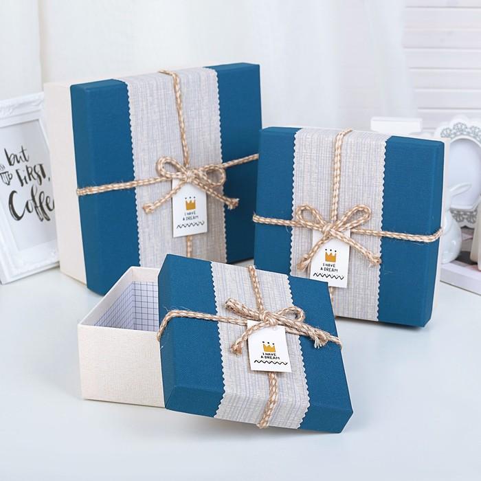 Набор коробок 3 в 1, синий, 21 х 21 х 10 - 14 х 14 х 7 см - фото 725781150