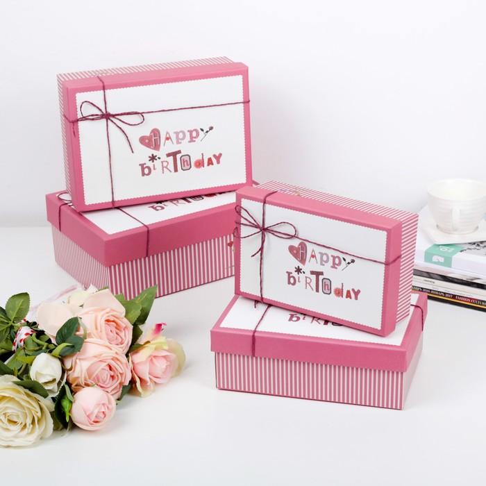 Набор коробок 4 в 1, 25,5 х 18,5 х 10 - 19 х 12 х 6,5 см - фото 727125211