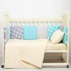 Бортики в кроватку (12 шт), 35х35 см, цвет мятный/серый, хл100% бязь