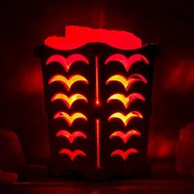 Соляной светильник 'Чайки', корзина, 10 х 10 х 15 см, 1,2 кг, белый, деревянный декор Ош