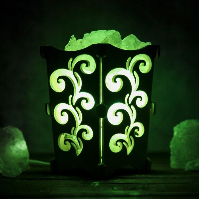"Соляной светильник ""Узоры"", корзина, 10 х 10 х 15 см, 2 кг, белый, деревянный декор"