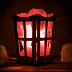 Соляной светильник 'Окна', корзина, 10 х 10 х 15 см, 2 кг, белый, деревянный декор Ош