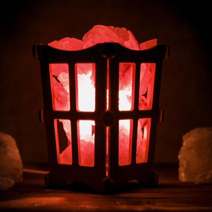 """Соляной светильник """"Окна"""", корзина, 10 х 10 х 15 см, 2 кг, белый, деревянный декор"""