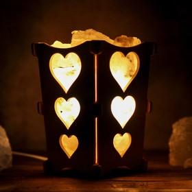 Соляной светильник 'Сердечки', корзина, 10 х 10 х 15 см, 2 кг, белый, деревянный декор Ош