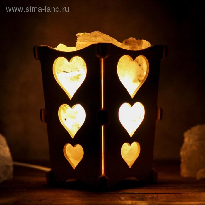 "Соляной светильник ""Сердечки"", корзина, 10 х 10 х 15 см, 2 кг, белый, деревянный декор"