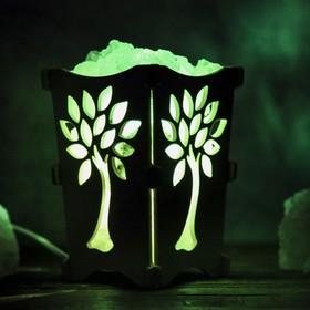 Соляной светильник 'Дерево', корзина, 10 х 10 х 15 см, 2 кг, белый, деревянный декор Ош