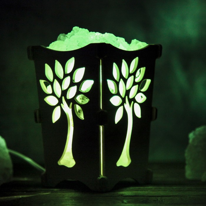 """Соляной светильник """"Дерево"""", корзина, 10 х 10 х 15 см, 2 кг, белый, деревянный декор"""