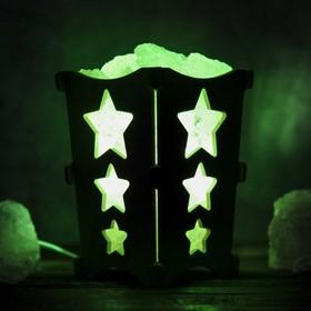 Соляной светильник 'Звёздочки', корзина, 10 х 10 х 15 см, 2 кг, белый, деревянный декор Ош