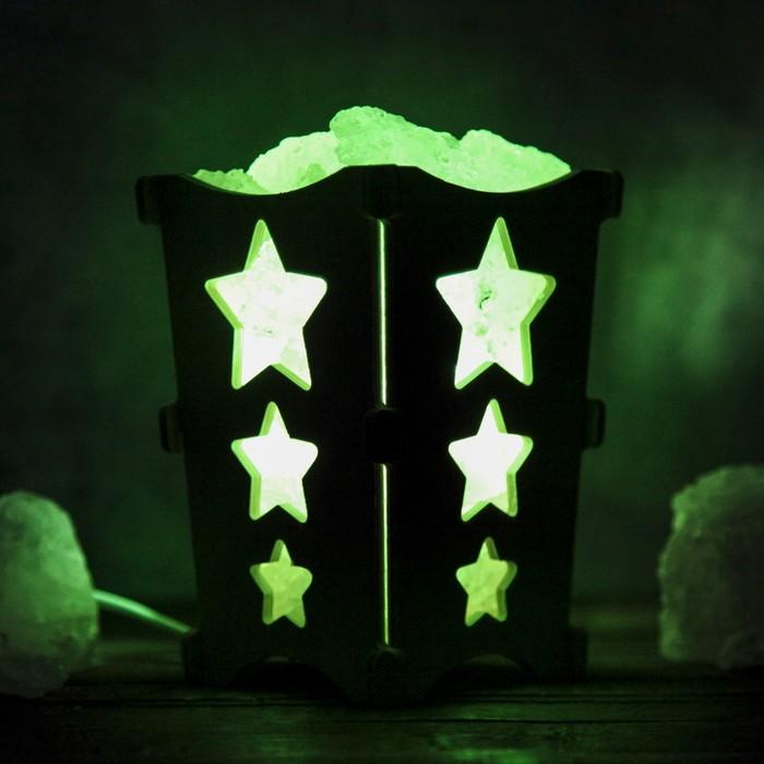 """Соляной светильник """"Звёздочки"""", корзина, 10 х 10 х 15 см, 2 кг, белый, деревянный декор"""